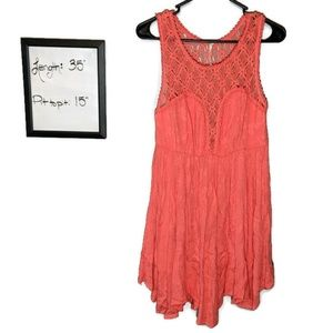 Free People Dress Embroidered Top Small Coral
